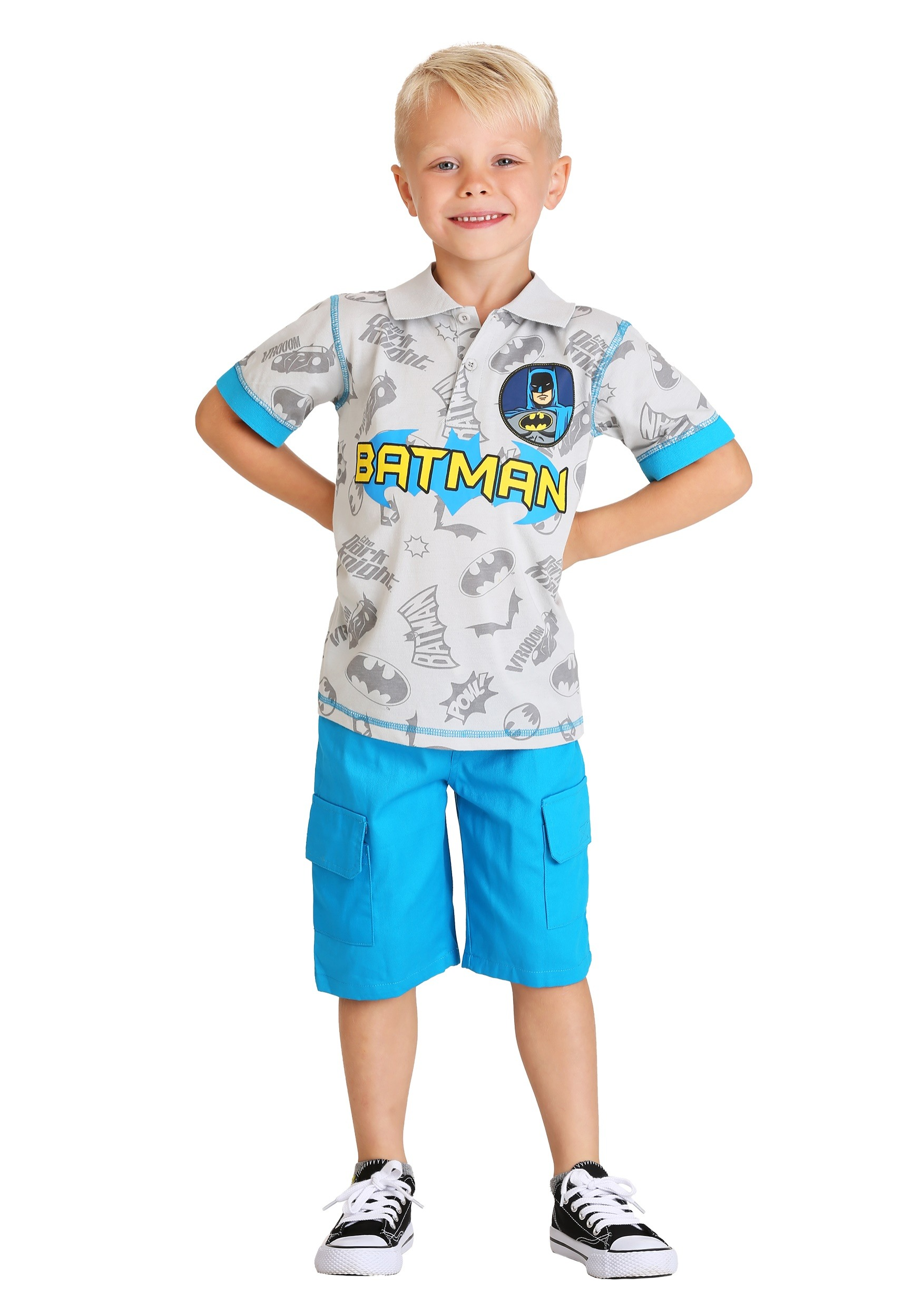 0045eb99 DC Comics Batman Boy's Polo Shirt and Short Set