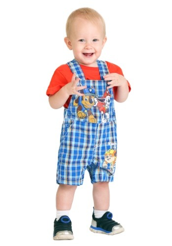 Infant Paw Patrol Plaid Shortall Set