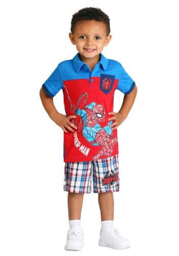 Toddler Boy's Spider-Man Polo and Plaid Short Set