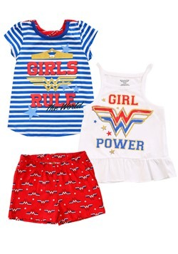 DC Comics Wonder Woman 3 Piece Girl's Rule Short Set Update