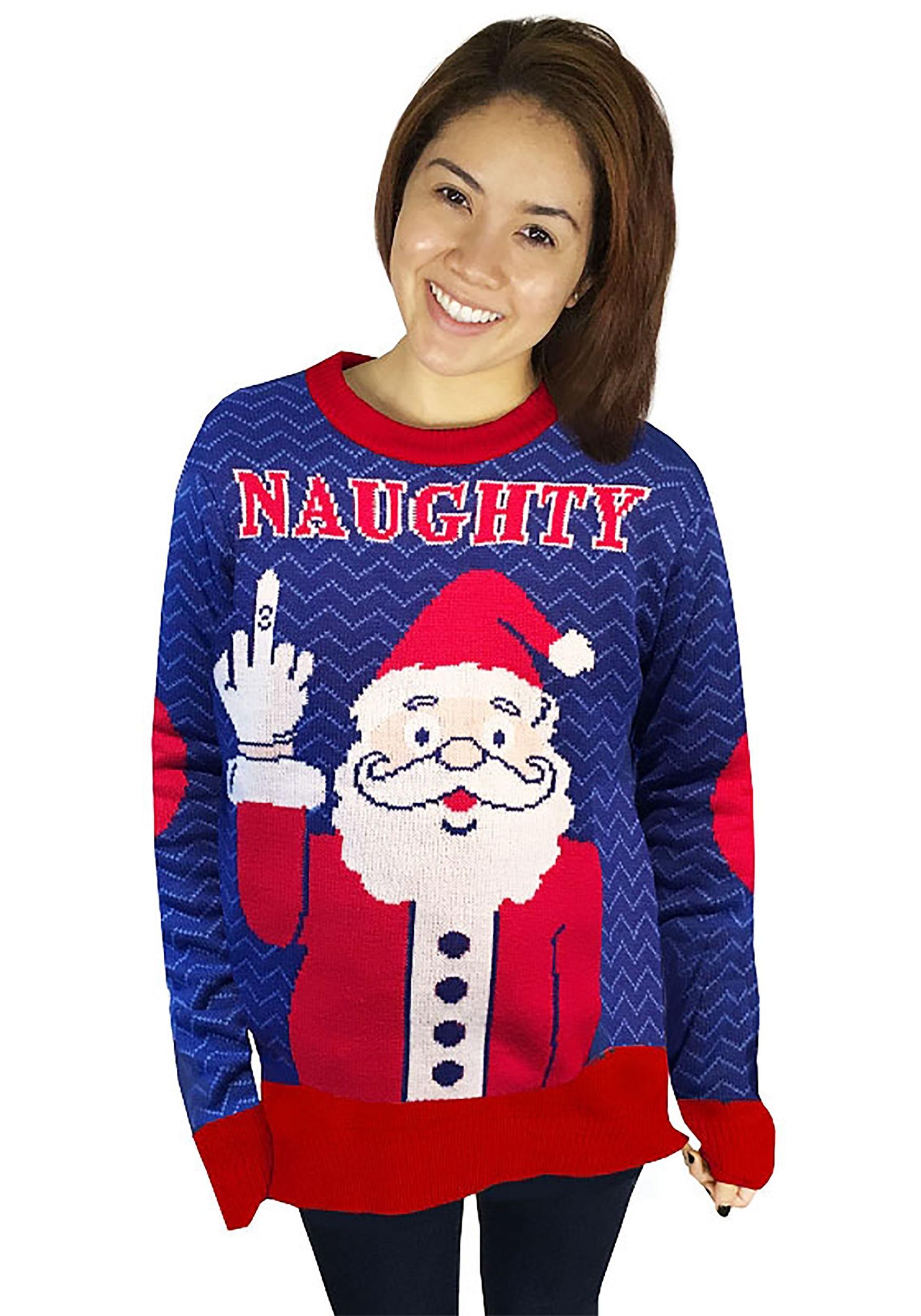 naughty santa ugly christmas sweater adult update1 - Adult Ugly Christmas Sweater