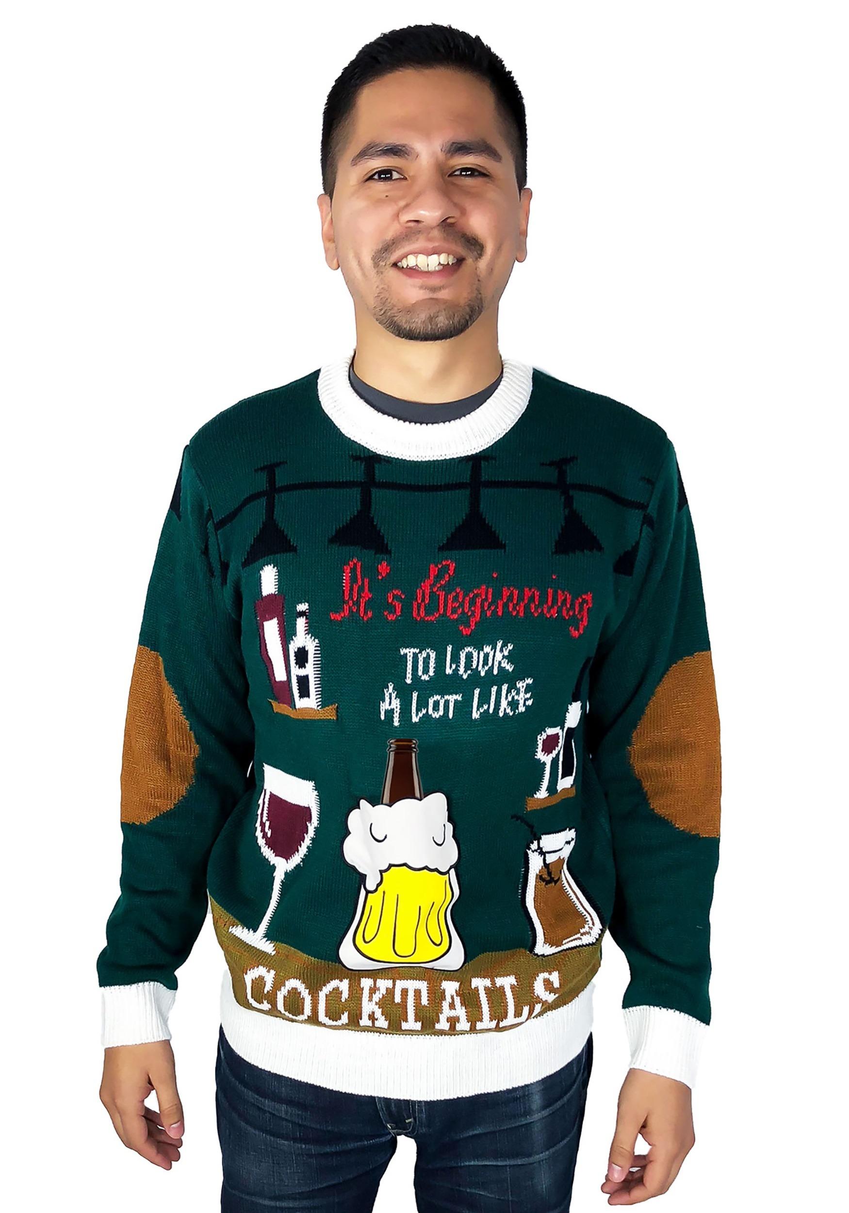Stripper Silhoutte Ugly Christmas Sweater Dark Green Adult T-Shirt