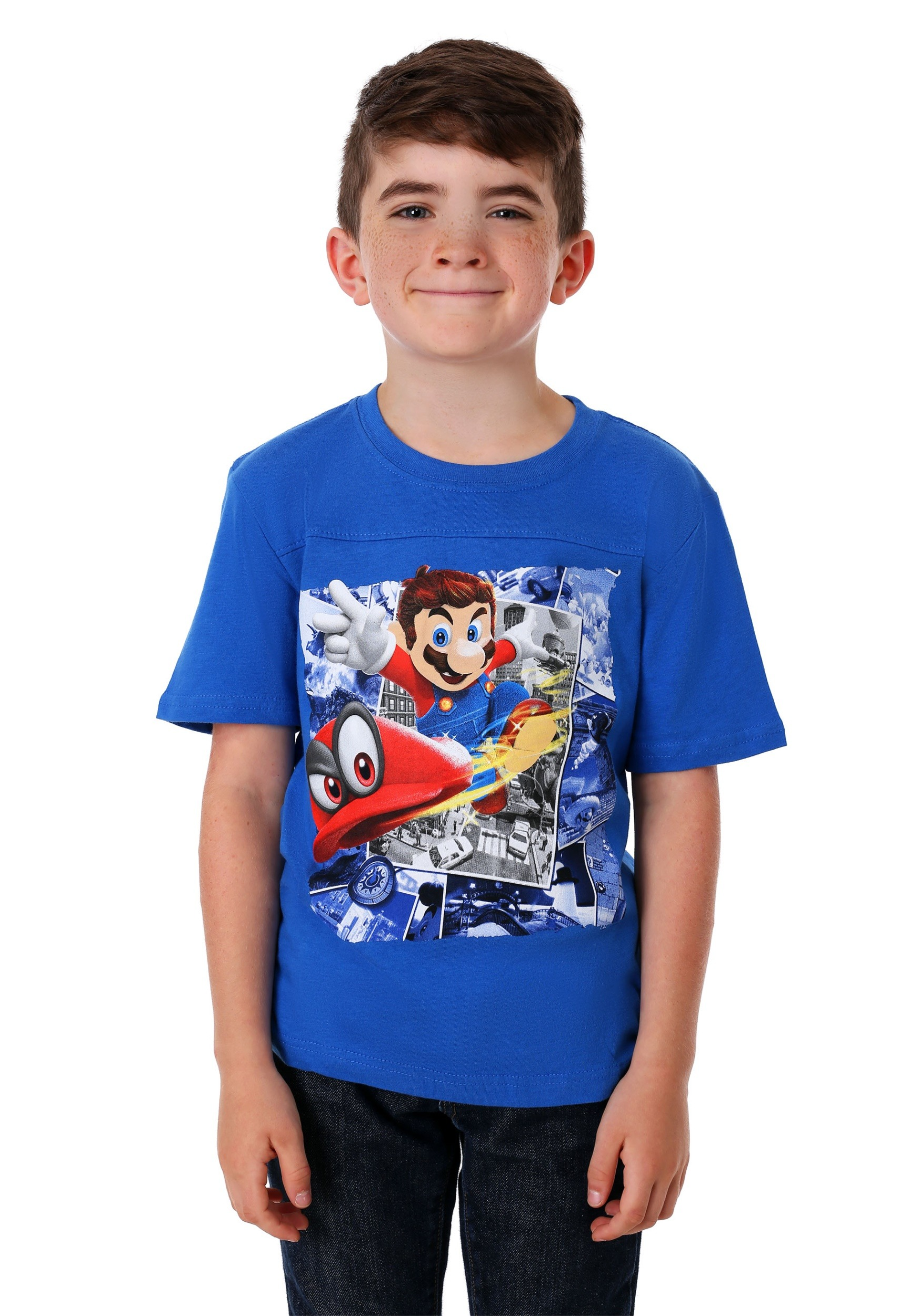 ecd77f7afaf Super Mario Odyssey Blue T-Shirt for Kids