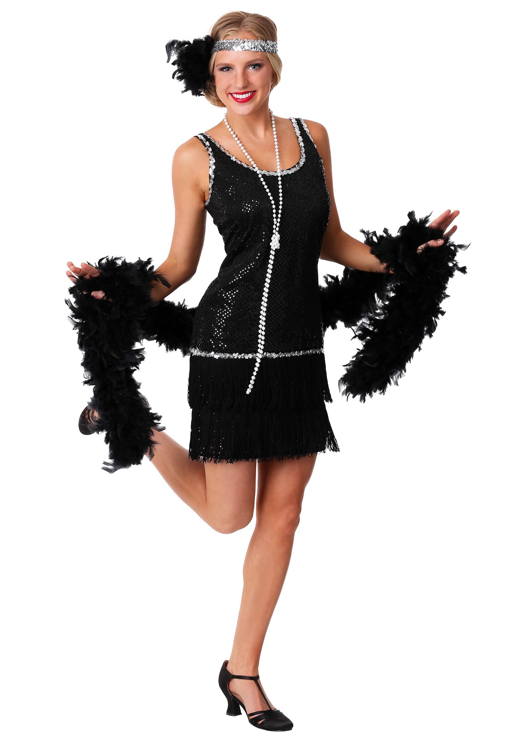Black Sequin & Fringe Flapper Dress for Plus Size Costume