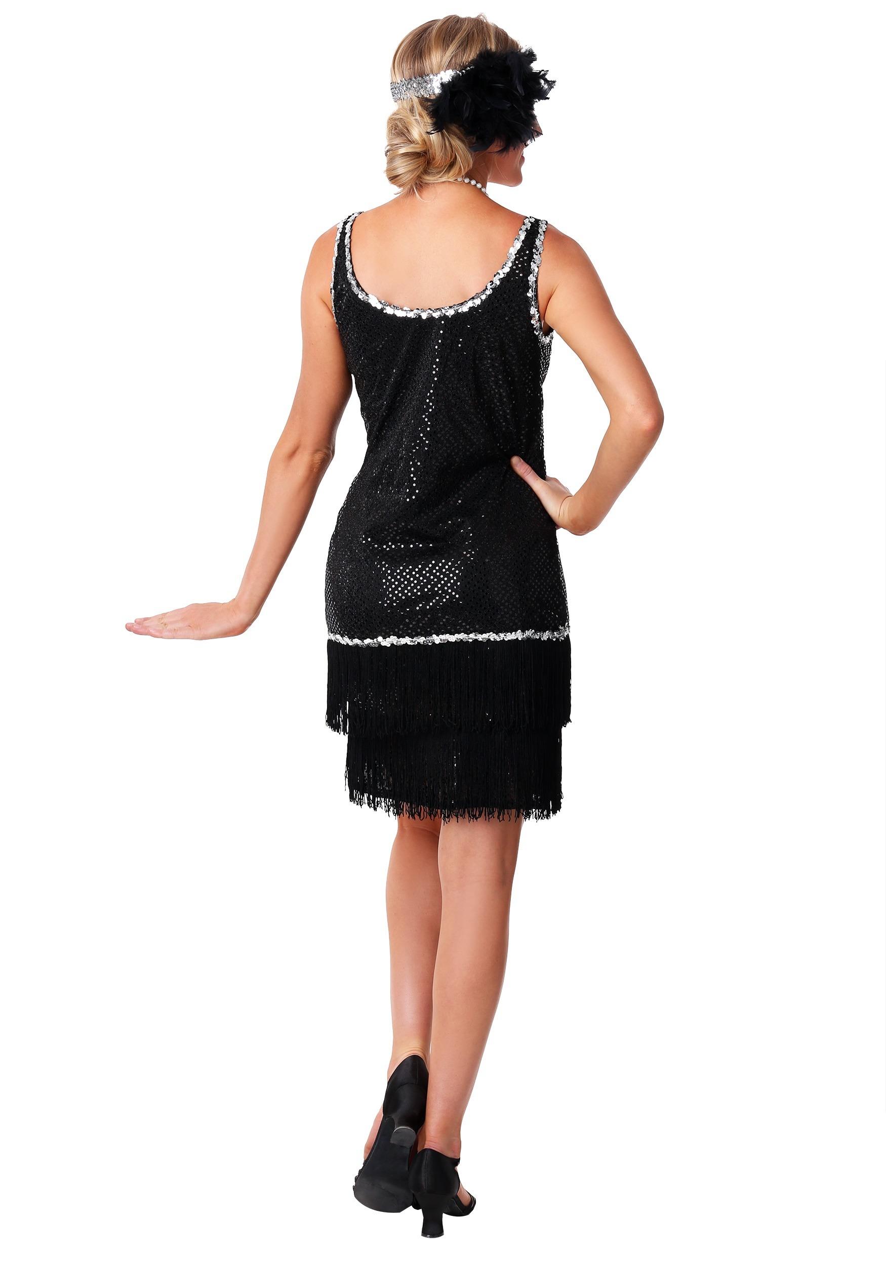 Black Sequin & Fringe Plus Size Flapper Dress Costume