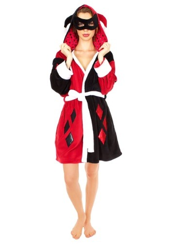 Harley Quinn Diamonds Mask Hooded Plush Robe