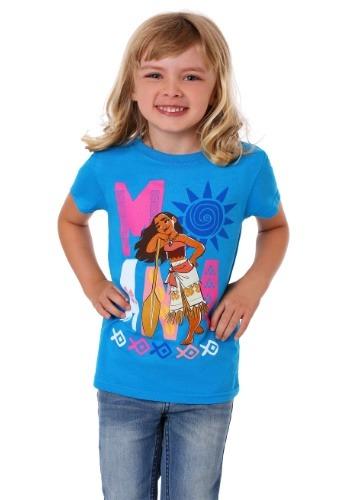 Girl's Moana Block Letter Turquoise T-Shirt