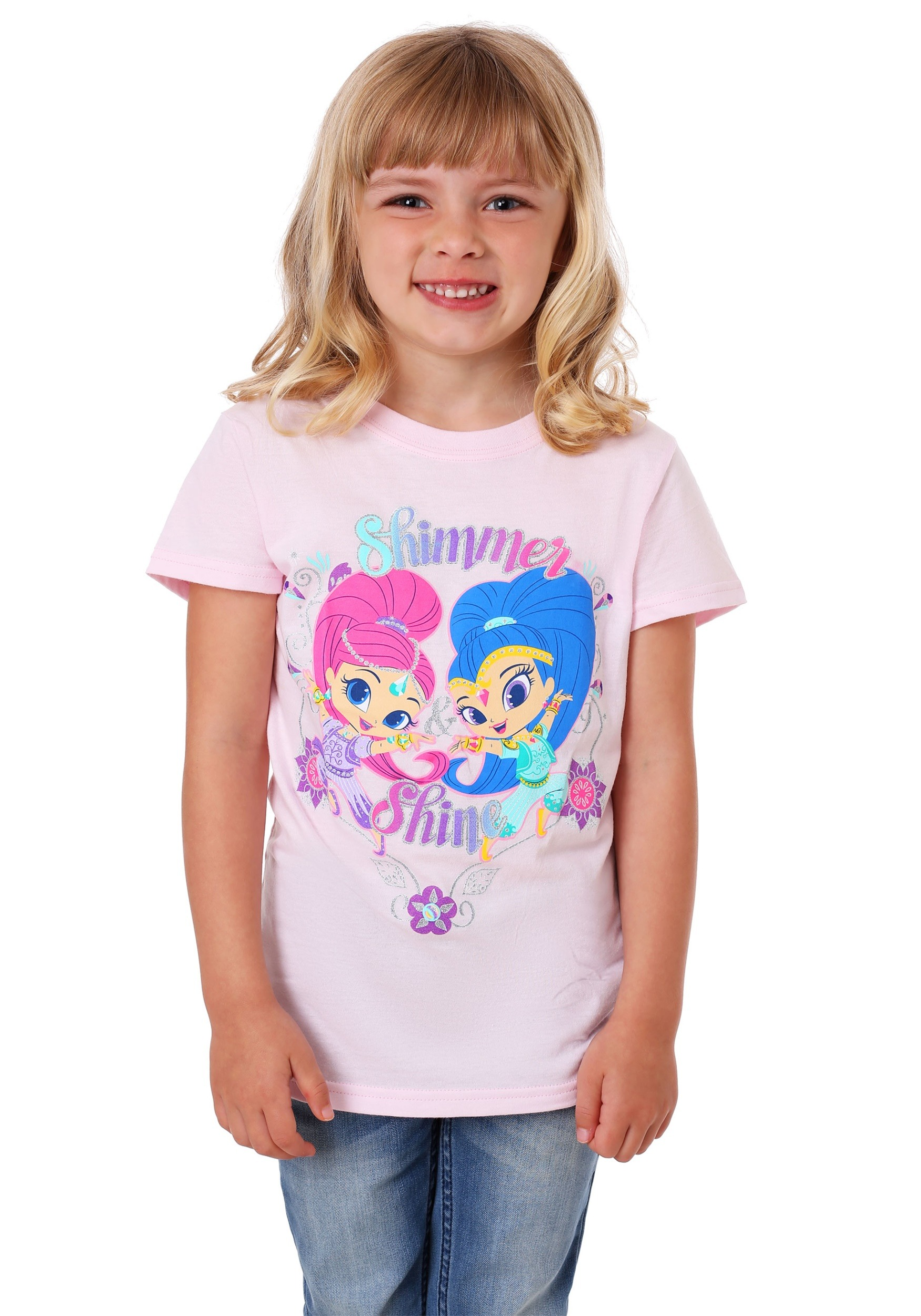 901ee0583259 Girls Kid's Shimmer and Shine Silver Glitter T-Shirt