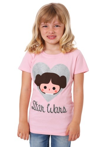 Girl's Star Wars Princess Leia Silver Glitter Heart T-Shirt