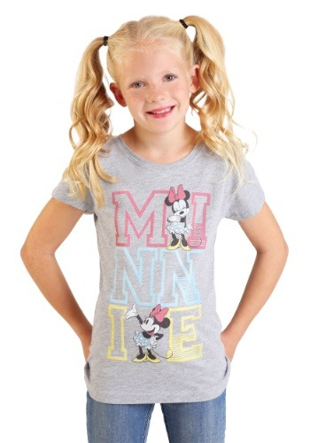 Girl's Minnie Mouse Stacked Varsity Letter T-Shirt
