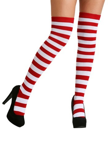 Adult Red and White Striped Socks