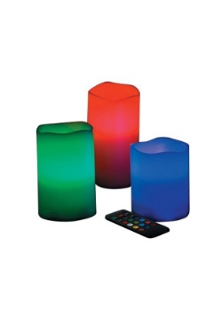 LED Color Changing Set of 3 Wax Pillars Candles
