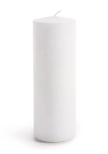 Set of 3 White Unscented Pillar Candles