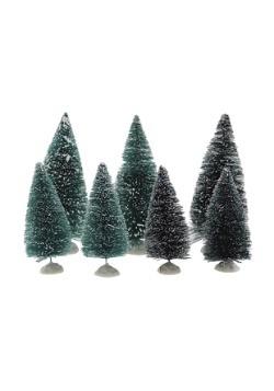 Mini Sisal Snowy Green Christmas Trees- Set of 7