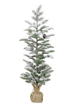 """40"""" Snow-Flocked Narrow Christmas Pine Tree with Burlap Base"""