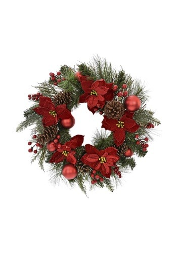 "24"" Pine and Red Poinsettia Wreath"