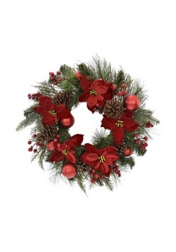 24 Pine and Red Poinsettia Wreath