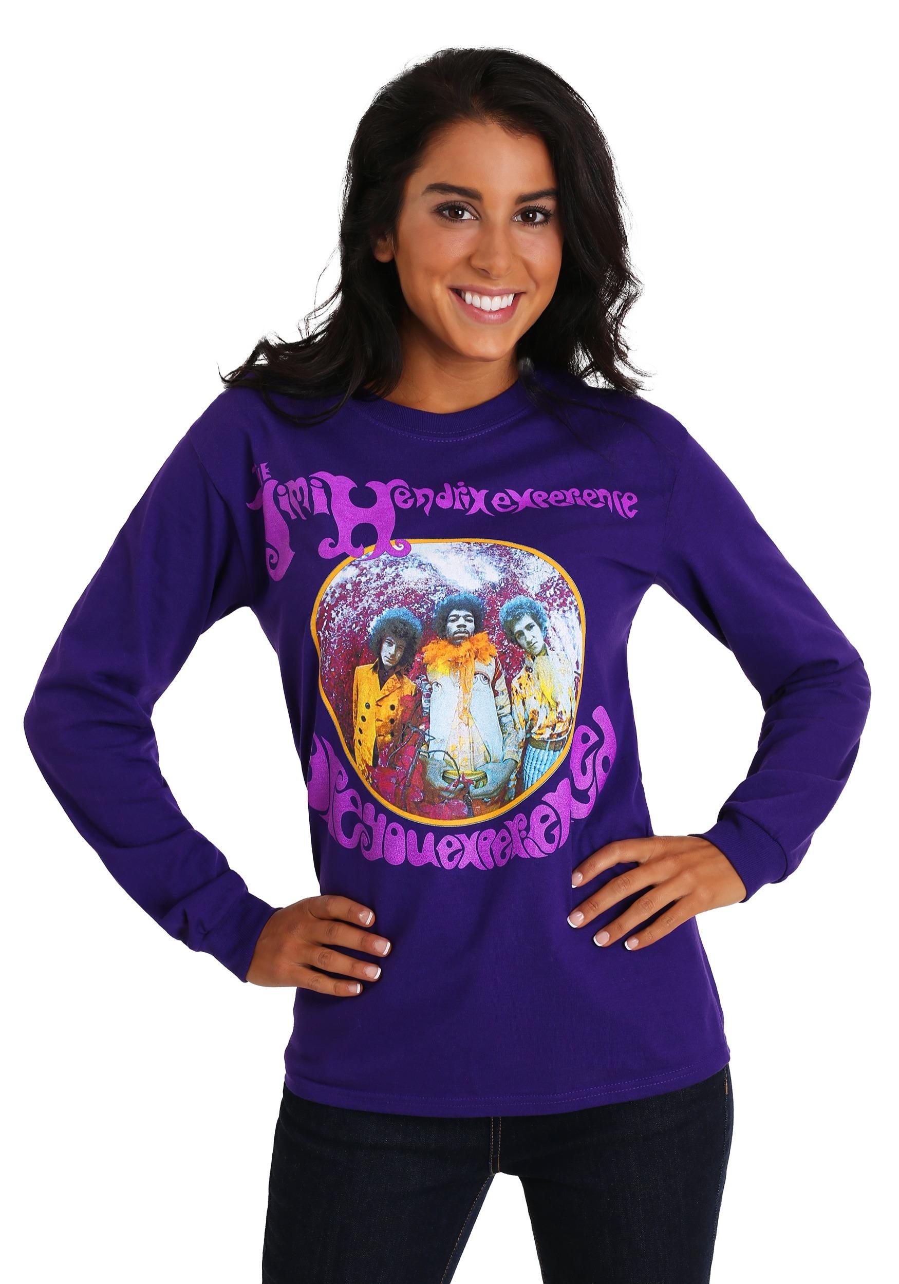 Jimi Hendrix Long Sleeve Purple Womens T-Shirt