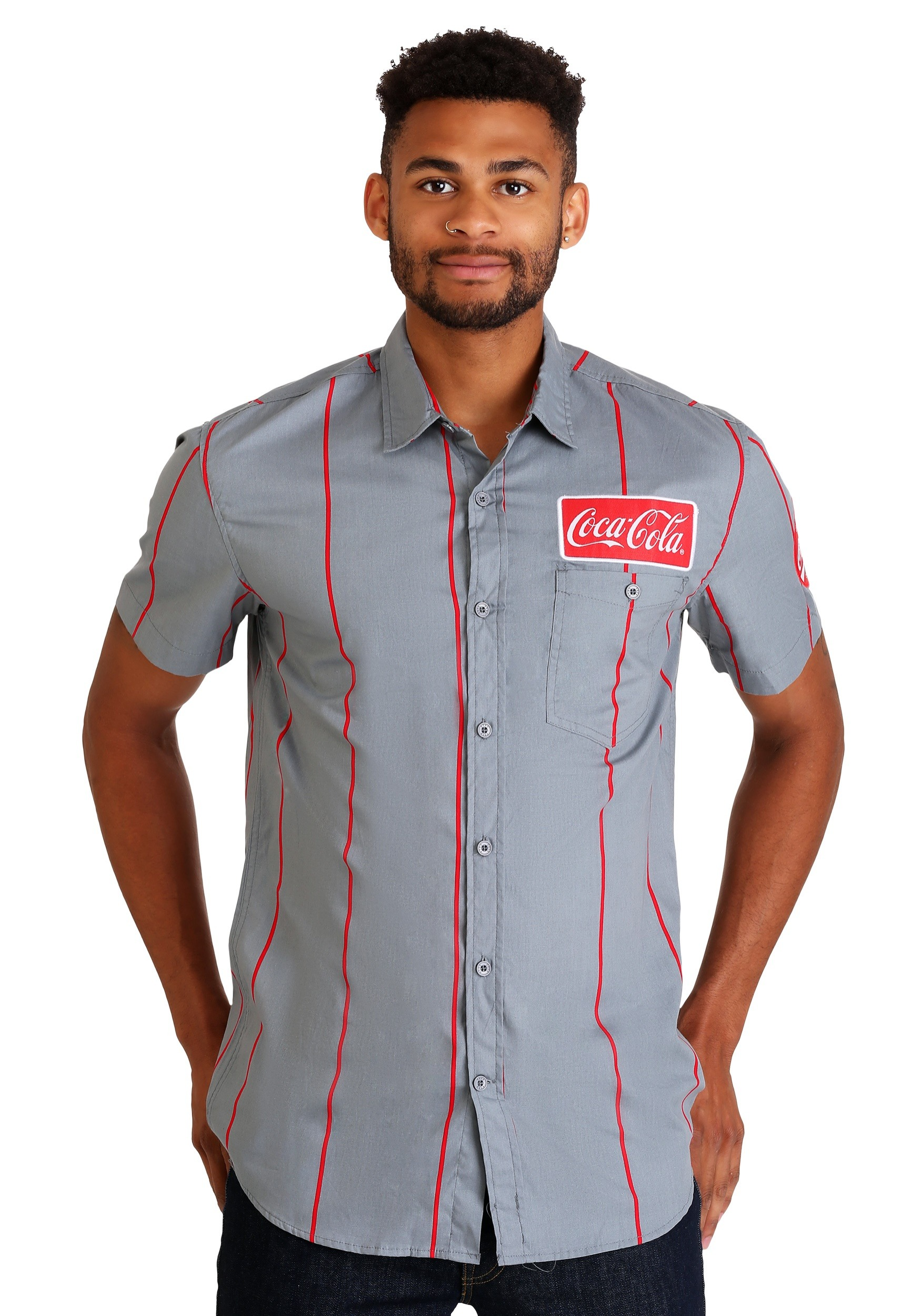 Mens Coca Cola Button Up Short Sleeve Shirt