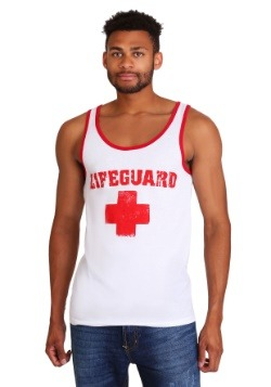 Men's Lifeguard Red and White Tank