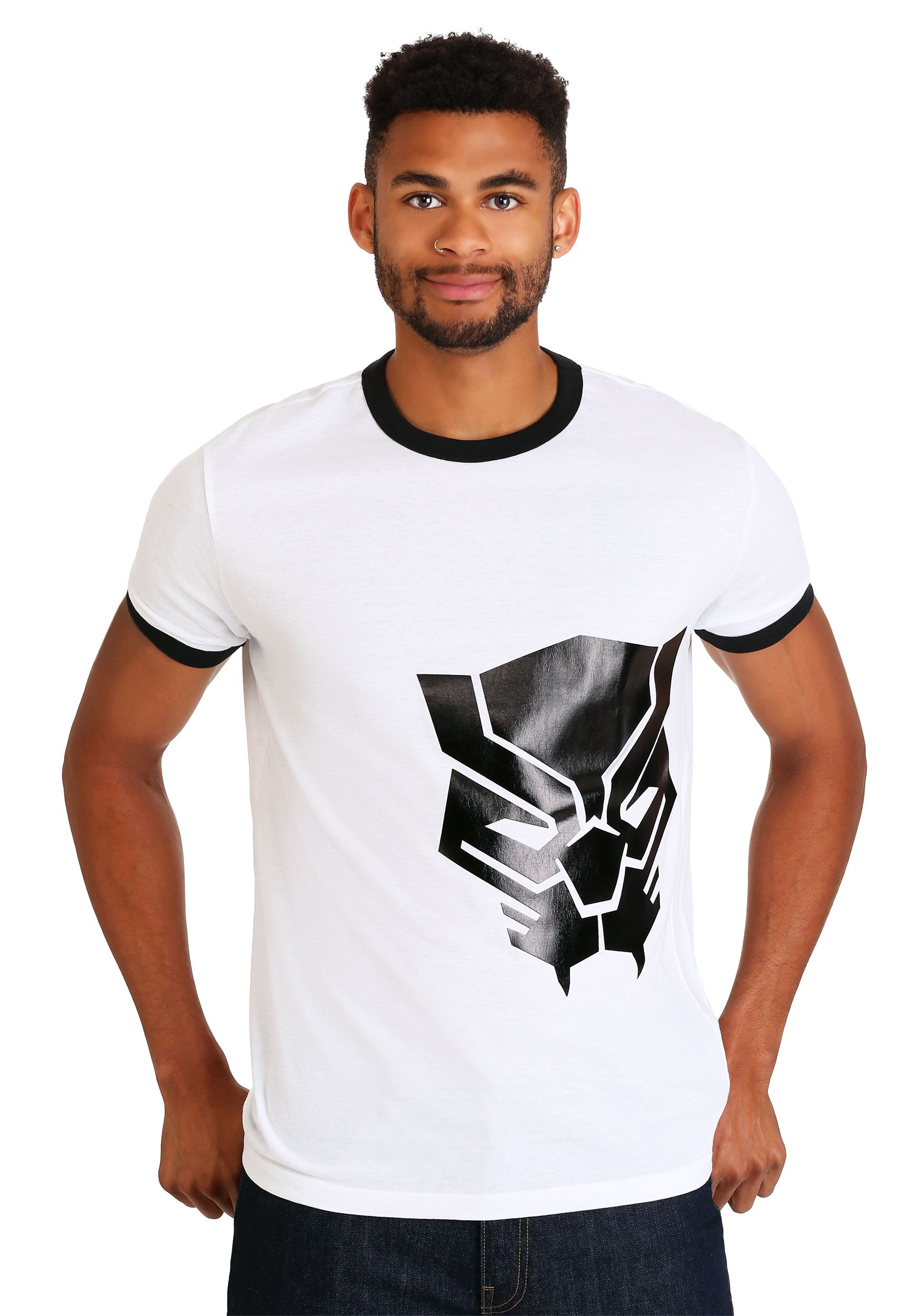 Men's Marvel Black Panther Black Foil Logo T-Shirt
