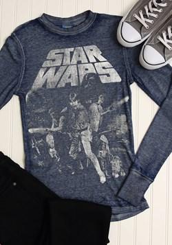Star Wars A New Hope Poster Mens Navy Heather Burnout Shirt