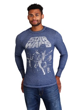Star Wars: A New Hope Poster Mens Navy Heather Burnout alt 1