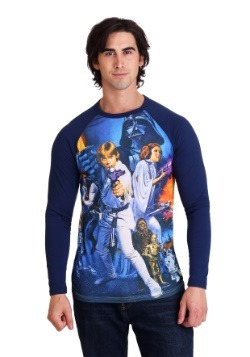 Star Wars A New Hope Poster Mens Navy Raglan Shirt