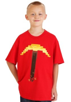 Minecraft Digitized Pickaxe Red TShirt