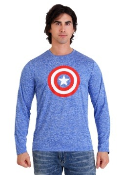 Marvel Captain America Heather Royal Blue Long Sleeve Shirt
