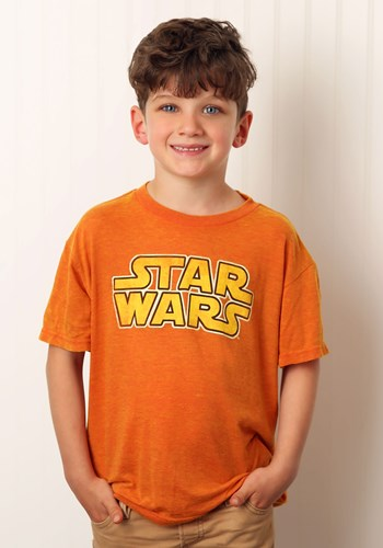 Star Wars Logo Boy's Orange Burnout T-Shirt
