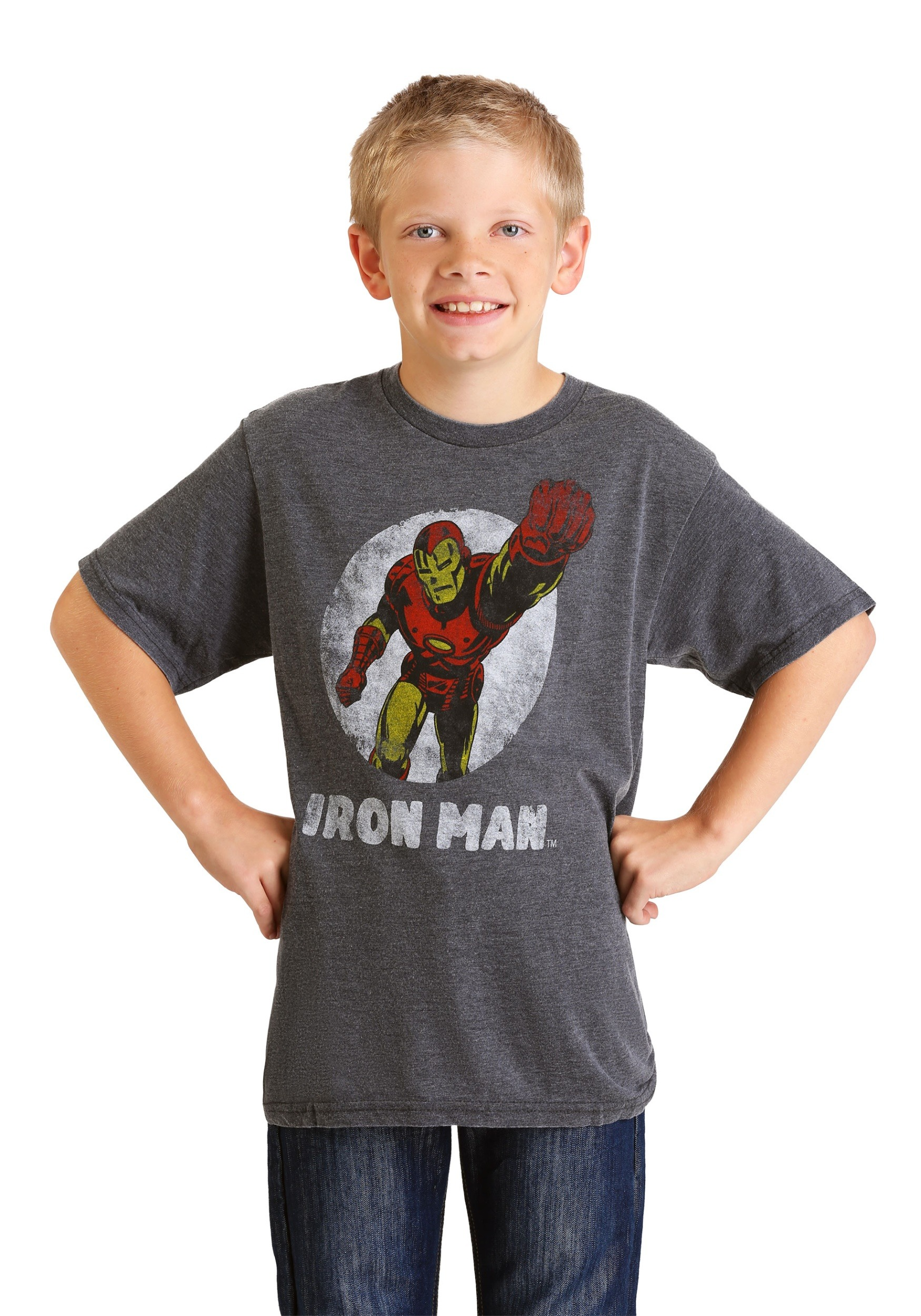 74a9c83160 Marvel Iron Man Charcoal Heather Burnout T-Shirt for Kids