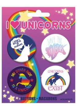 I Love Unicorns 4-Pack Button Set