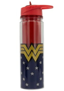 Wonder Woman Logo Tritan Glitter Water Bottle