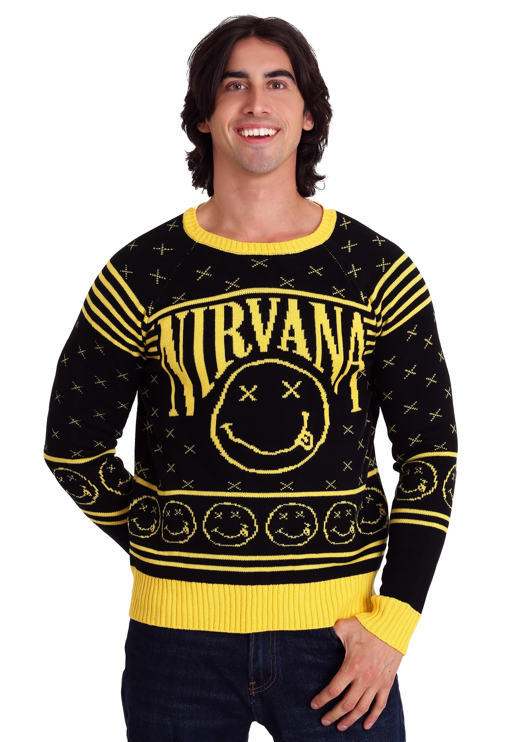 e56510379d0 Nirvana Smiley Pattern Ugly Christmas Sweater
