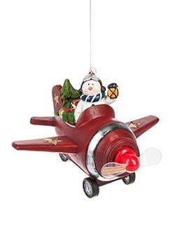 Snowman in Airplane Light Up Ornament