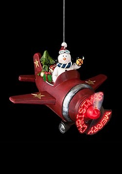Snowman in Airplane Light Up Ornament2 upd