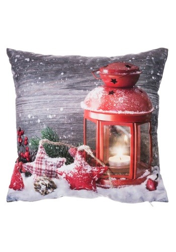 "Christmas Red Lantern 16"" Pillow w/ LED Lights"