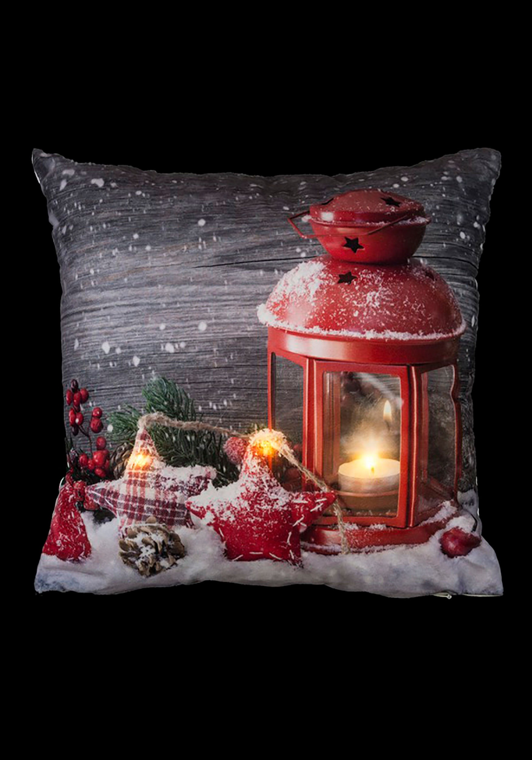 """16"""" Christmas Red Lantern Pillow with LED Lights"""