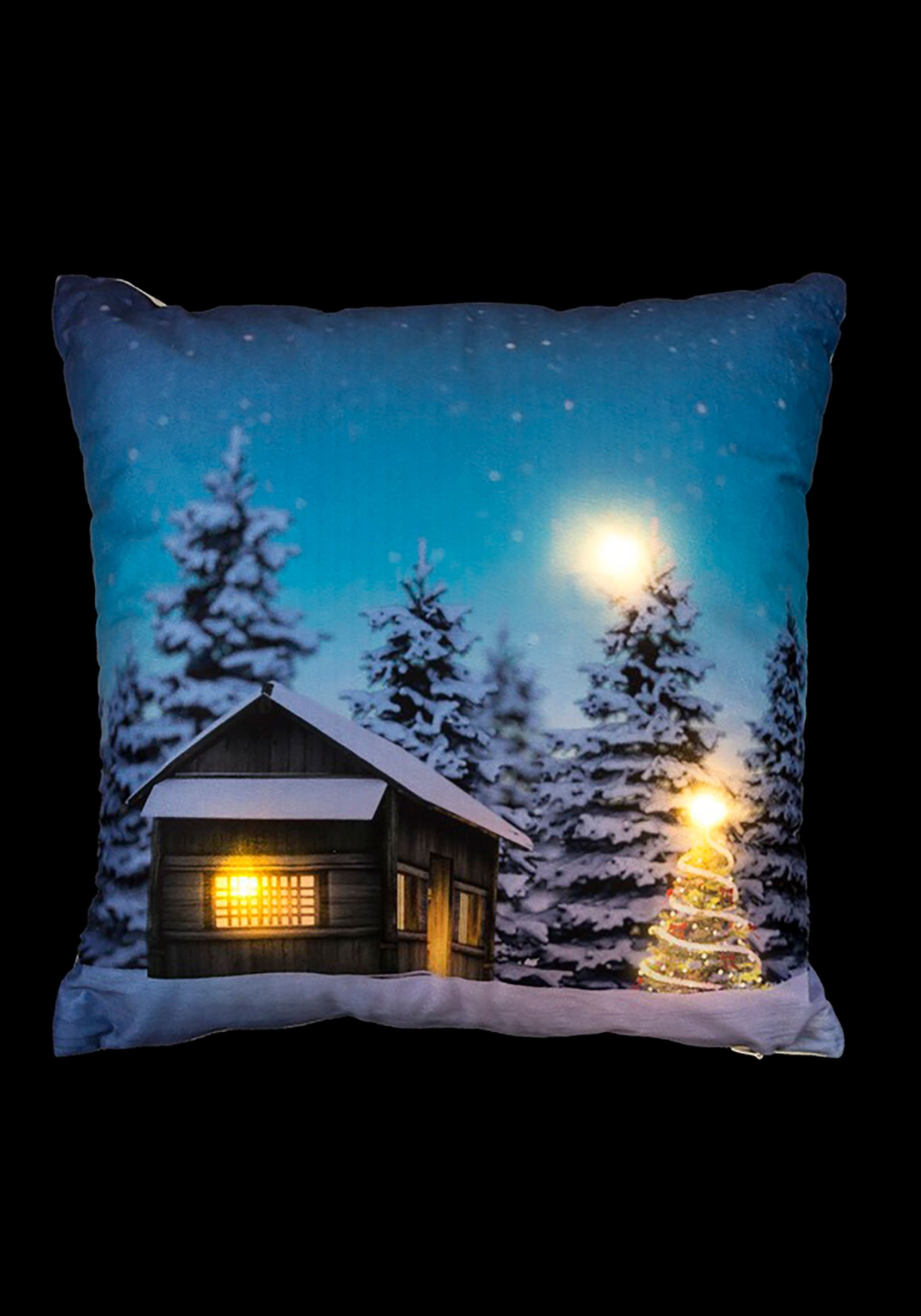 Christmas Tree Cabin 16 Pillow W Led Lights