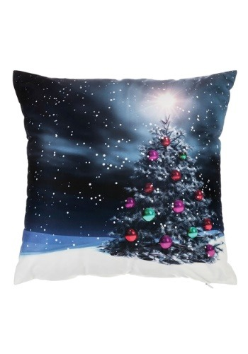 "Moonlight Christmas Tree 16"" Pillow w/ LED Lights"