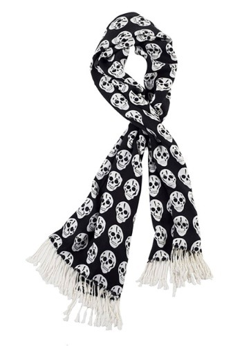Skull Black and White Scarf