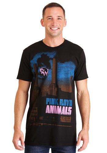 Mens Pink Floyd Animals Pig Stain Black T-Shirt update1