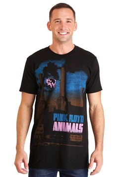 Mens Pink Floyd Animals Pig Stain Black T-Shirt update1