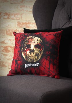 Friday the 13th Bloody Jason Mask 14 x 14 Throw Pillow Upd