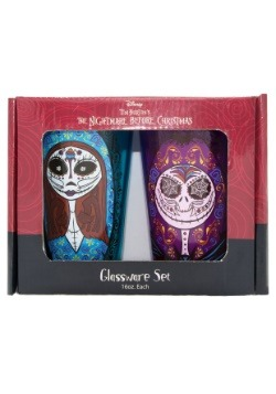 16 oz 2 pc Glass Pints Jack and Sally Sugar Skull