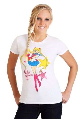 Juniors Sailor Moon w/ Stars White T-Shirt