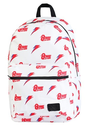 David Bowie Allover Print White Backpack