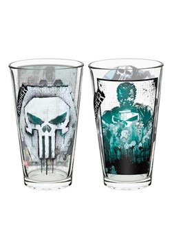 Marvel Punisher 2pc 16oz Glass Tumbler Set Update Main
