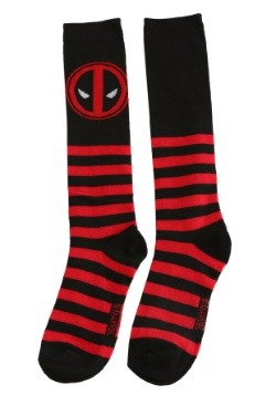 Womens Deadpool Black and Red Striped Knee High Socks